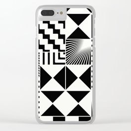 Mosaic Black And White Pattern Clear iPhone Case