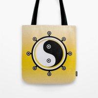 yin yang Tote Bags featuring Yin yang by Nir P