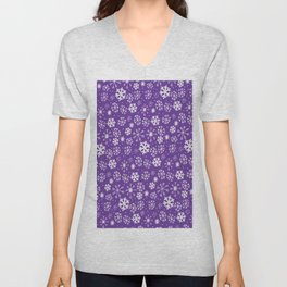 Snowflake Snowstorm With Purple Background Unisex V-Neck