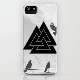 Black and White Valknut and Odin Ravens iPhone Case