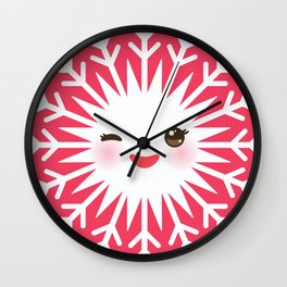 Merry Christmas card design Kawaii white snowflake funny face with eyes and red cheeks on pink Wall Clock