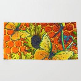 ORANGE-YELLOW BUTTERFLIES & SUNFLOWERS ARTISTIC HONEYCOMB DRAWING Beach Towel