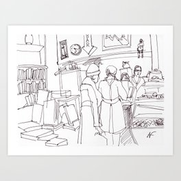 Hipster book store Art Print