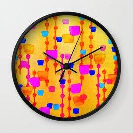 POLKA DOT MATRIX - Bright Bold Cheerful Dotty Geometric Squares Circles Abstract Watercolor Painting Wall Clock