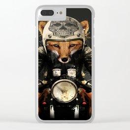 Fox Biker Clear iPhone Case