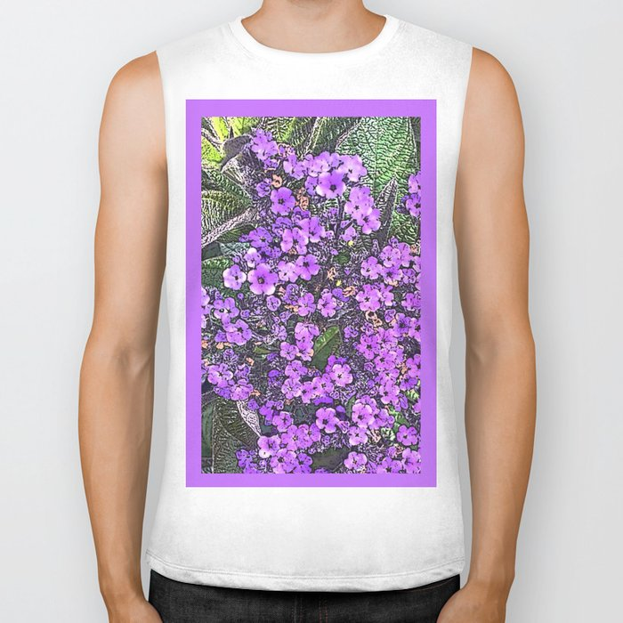 Spring floral blossom in lilac and green Biker Tank