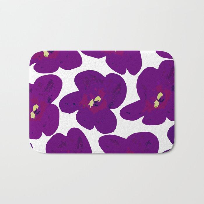 Purple Retro Flowers #decor #society6 #buyart Bath Mat