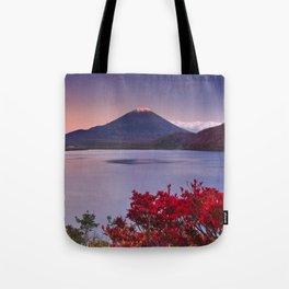 I - Last light on Mount Fuji and Lake Motosu, Japan Tote Bag