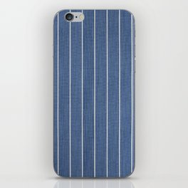 Denim Blue with White Pinstripes iPhone Skin