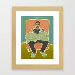 Father with Twins Framed Art Print