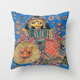 Madhubani - Blue Durga Throw Pillow