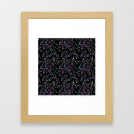 Floral pattern on a black background . Blue and purple flowers . Framed Art Print