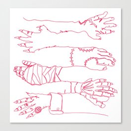 Classic Horror Hands (Red Line) Canvas Print