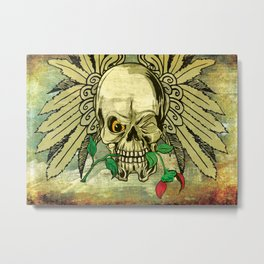 Skull with Wings and Dead Rose Metal Print