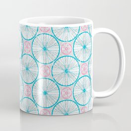 For the Love of Cycling Pattern - Grey Blue Pink Coffee Mug