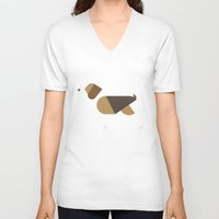 beagle V-neck T-shirts featuring beagle by rubenmontero