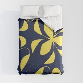 Leafy Vines Yellow and Navy Blue Comforters