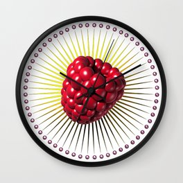 raspberry, sweet and sexy fruit with aureole Wall Clock