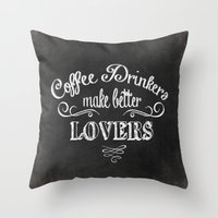 coffee Throw Pillows featuring COFFEE by Monika Strigel