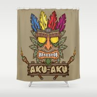 playstation Shower Curtains featuring Aku-Aku (Crash Bandicoot) by Pancho the Macho