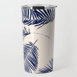 Blue Palm Leaves x Dry Brush Travel Mug