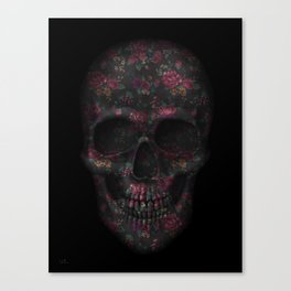 Skull Black Flowers Canvas Print