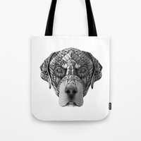 rottweiler Tote Bags featuring Ornate Rottweiler by Adrian Dominguez