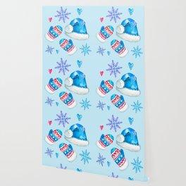 Blue Christmas Santa and Snowflakes Pattern Wallpaper
