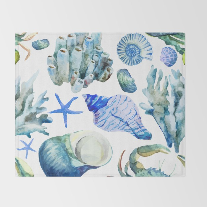 Sea Life Pattern 05 Throw Blanket