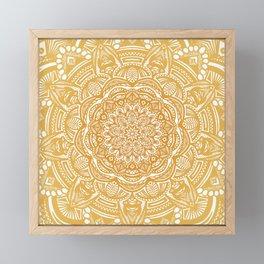 Golden Mustard Yellow Orange Ethnic Mandala Detailed Framed Mini Art Print