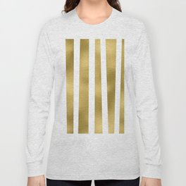Gold unequal stripes on clear white - vertical pattern Long Sleeve T-shirt
