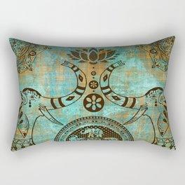 Elephants Lotus Flower Distressed Mandala Design Rectangular Pillow