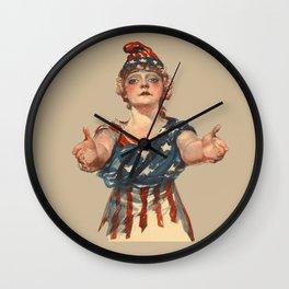 Patriotic American Woman Wall Clock