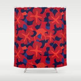 Oriental Flower with Deer Pattern Shower Curtain