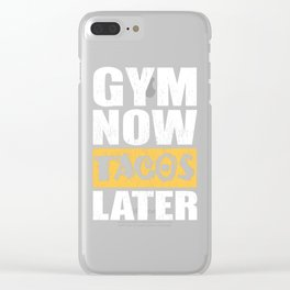Gym Now Tacos Later Fitness Gym Workout Clear iPhone Case