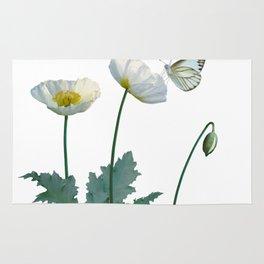 Spade's White Poppies Rug