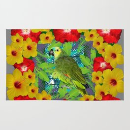 RED-YELLOW HIBISCUS & GREEN PARROT JUNGLE GRAY  ART n Rug
