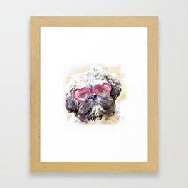Valentines Shih Tzu dog Framed Art Print