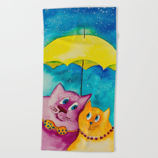Two under the umbrella Beach Towel