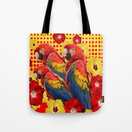 DECORATIVE TROPICAL RED MACAWS & HIBISCUS  FLOWERS Tote Bag