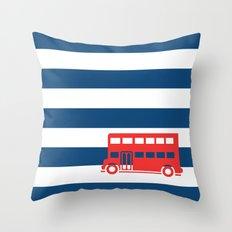 British Double Decker Bus Throw Pillow