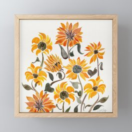 Sunflower Watercolor – Yellow & Black Palette Framed Mini Art Print