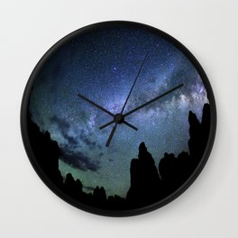 Milky Way Mountains Silhouette Wall Clock