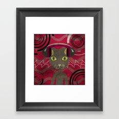 Music vector cat in phones. Framed Art Print