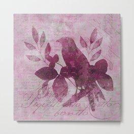 Floral Bird Illustration Metal Print