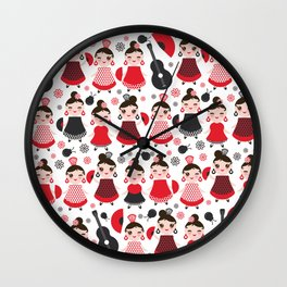 pattern spanish Woman flamenco dancer. Kawaii cute face with pink cheeks and winking eyes. Wall Clock