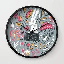 Botanical blockprint bunny Wall Clock
