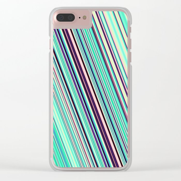 Diagonal  summer stripes Clear iPhone Case