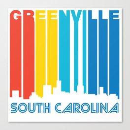 Retro 1970's Style Greenville South Carolina Skyline Canvas Print