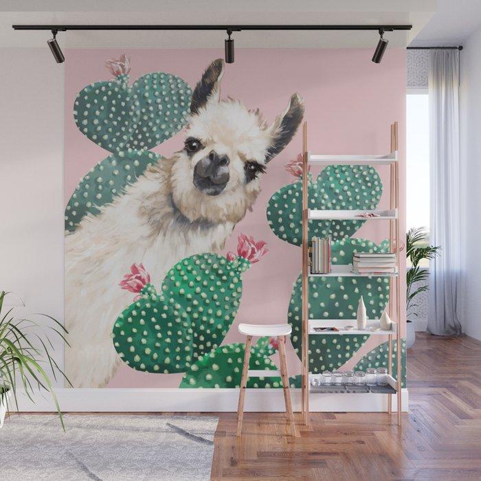 Llama and Cactus Pink Wall Mural